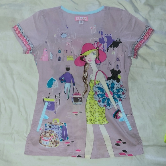 Koi Scrub Top with a Shopping Girl size XSmall